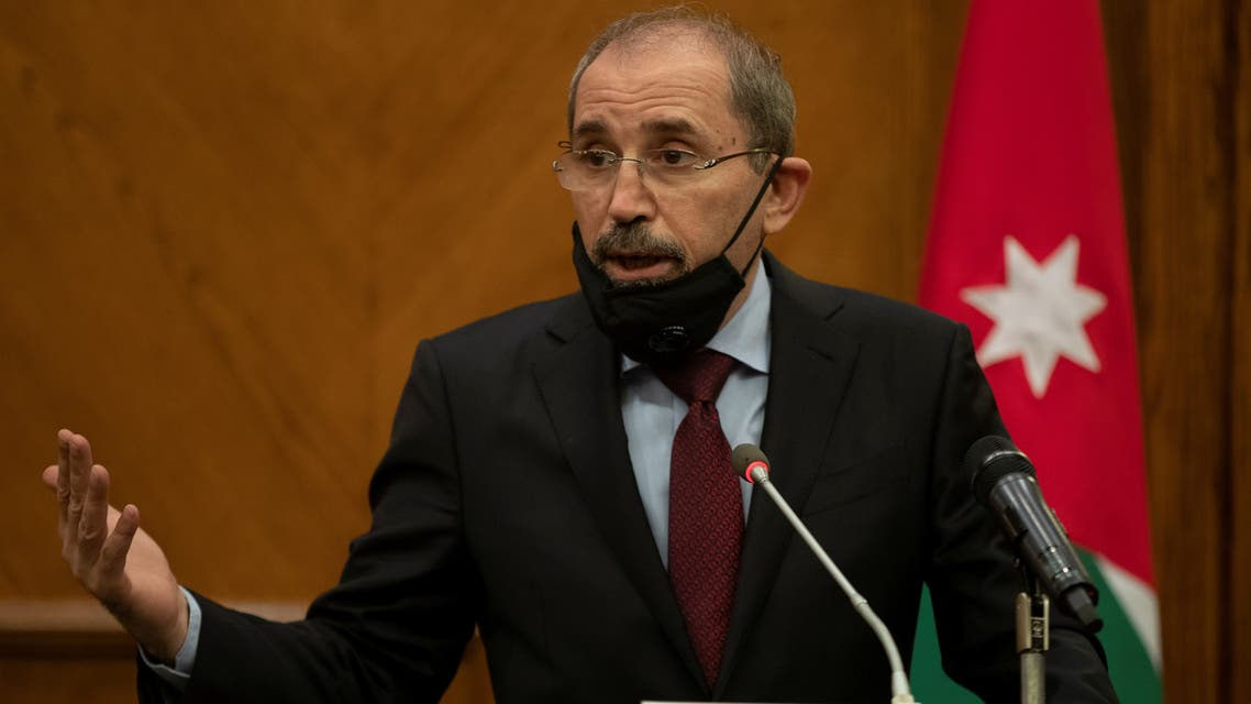 Jordan's Foreign Minister Ayman Safadi speaks during a joint news conference with Spain's Foreign Affair Minister Arancha Gonzalez Laya (not pictured) at the Foreign Ministry in Amman, Jordan October 1, 2020. Andre Pain/Pool via REUTERS