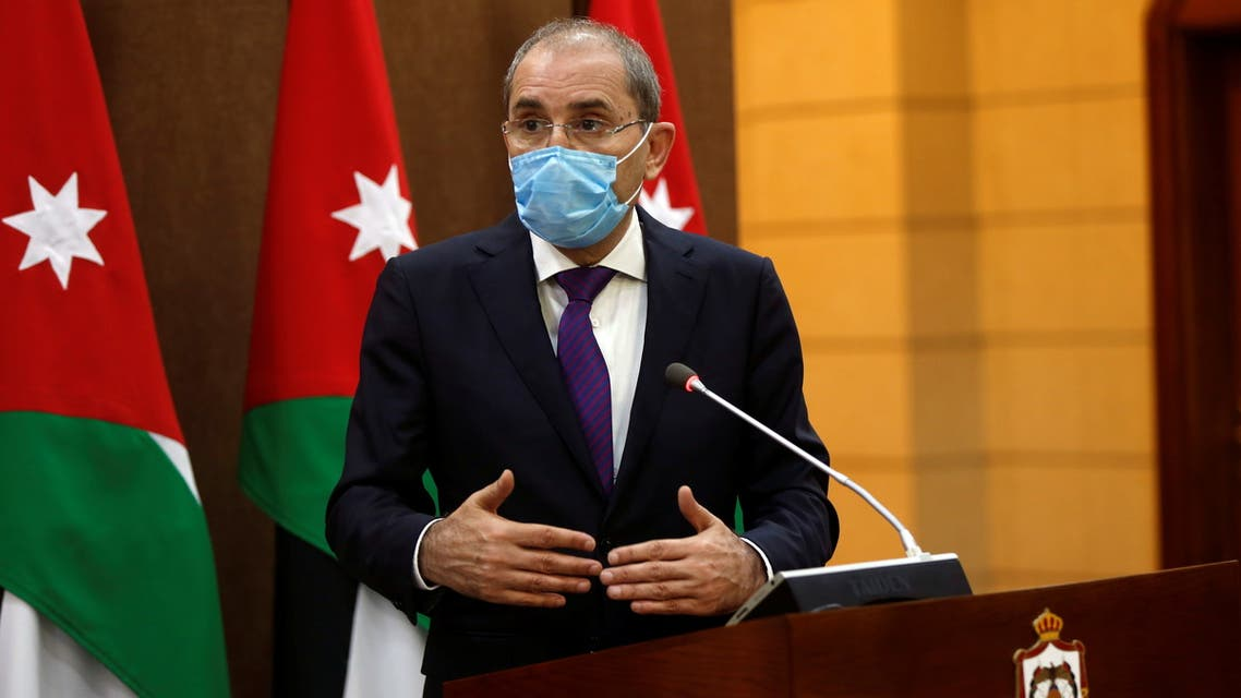 Jordanian Foreign Minister Ayman Safadi speaks during a news conference with his Kuwait's counterpart Sheikh Ahmad Nasser al-Mohammad al-Sabah in Amman, Jordan October 19, 2020. REUTERS/Muhammad Hamed/Pool