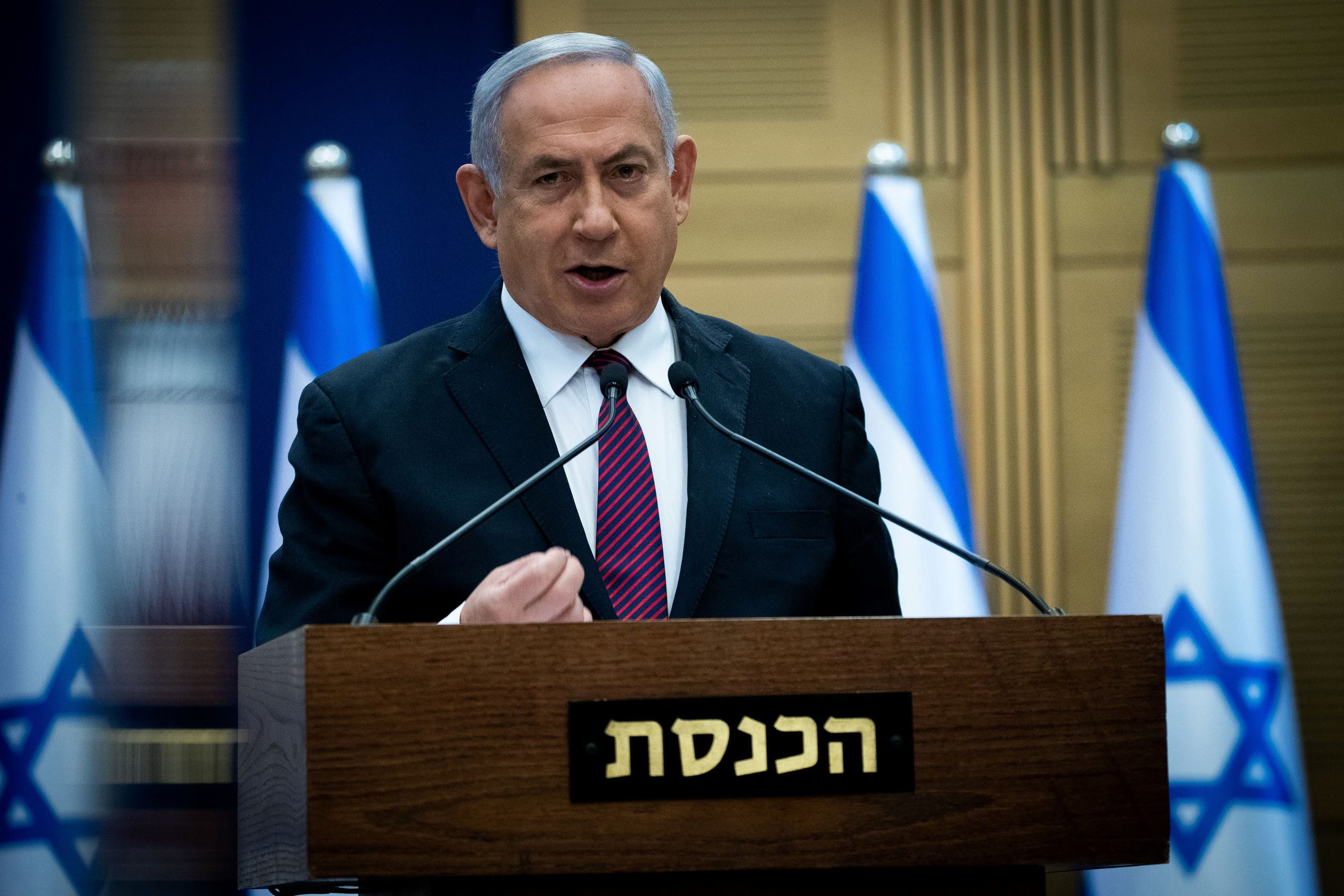 Israeli Prime Minister Benjamin Netanyahu delivers a statement to Likud party MKs at the Knesset (Israel's parliament) in Jerusalem, December 2, 2020. Yonatan Sindel/Pool via REUTERS