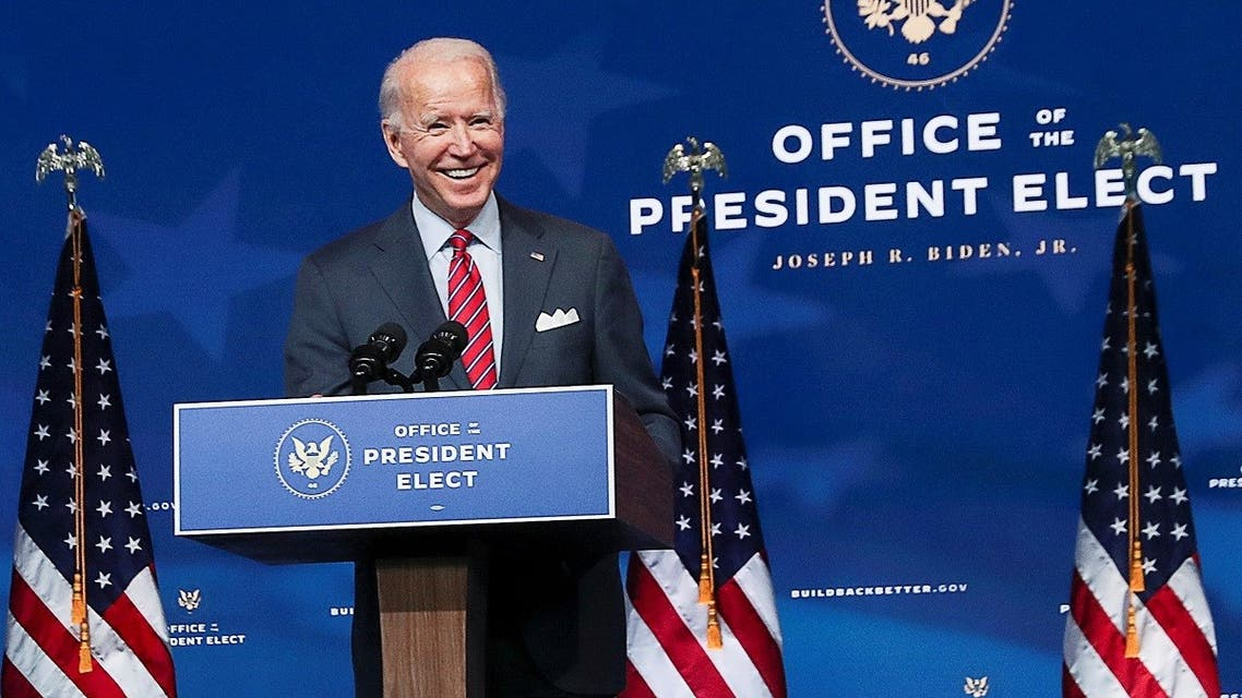 US President-elect Joe Biden speaks about US economy at his transition headquarters in Wilmington, Delaware. (Reuters)