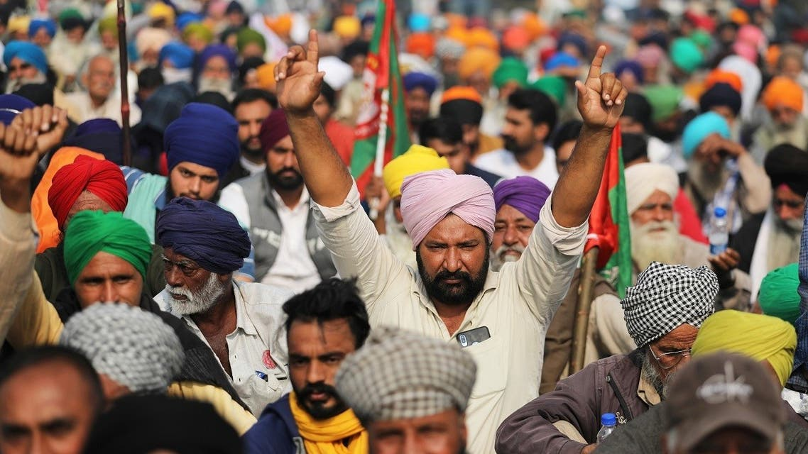Protest against farm bills at Singhu border near Delhi. (Reuters)