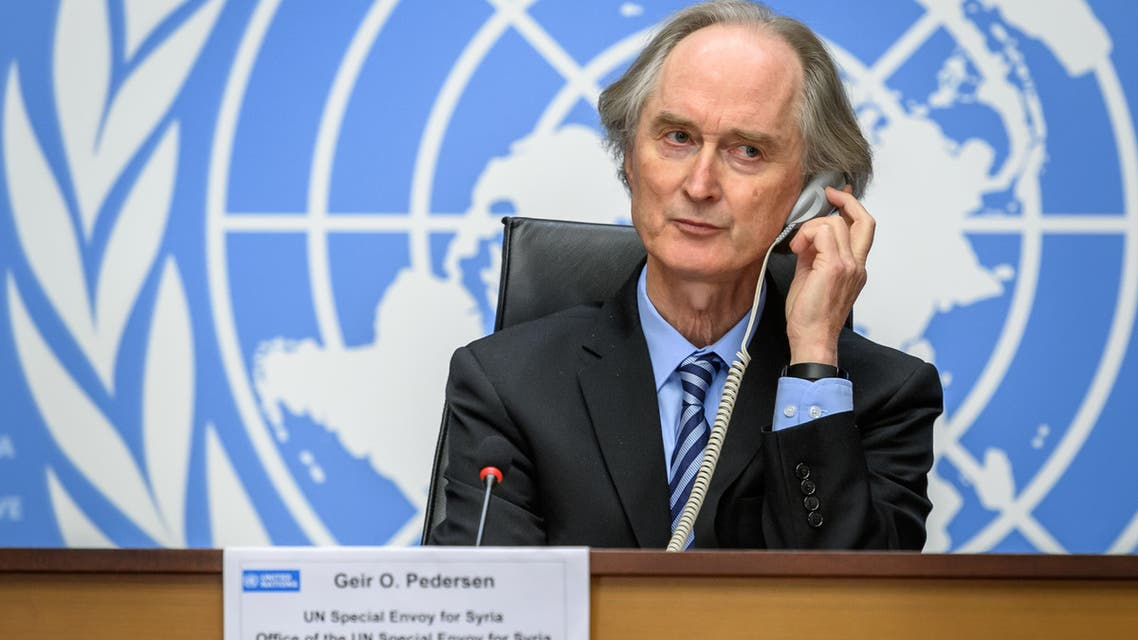 UN special envoy for Syria Geir Pedersen gestures as he speaks during a press conference ahead of Syrian Constitutional Committee fourth session on November 29, 2020 at the United Nations Offices in Geneva.