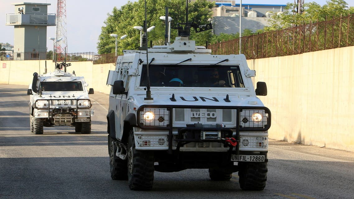 UN peacekeepers (UNIFIL) vehicle is pictured in Naqoura, near the Lebanese-Israeli border, southern Lebanon, November 11, 2020. REUTERS/Aziz Taher