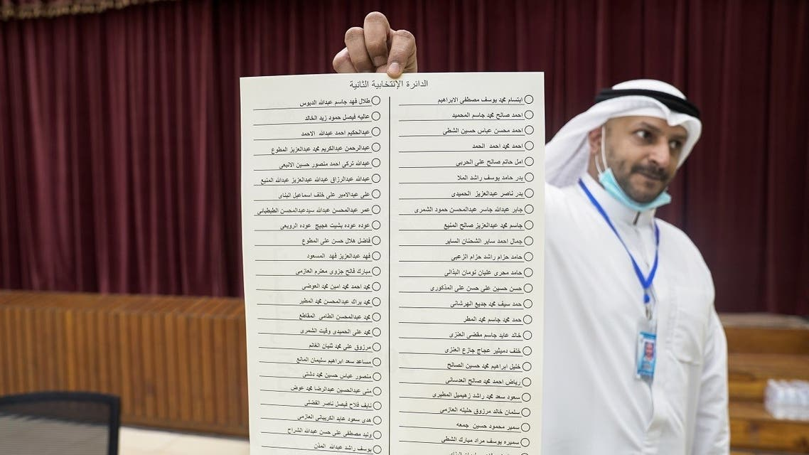 A Kuwaiti official holds the ballot for the 2nd constituency at a polling station during parliamentary elections in Kuwait City. (Reuters)