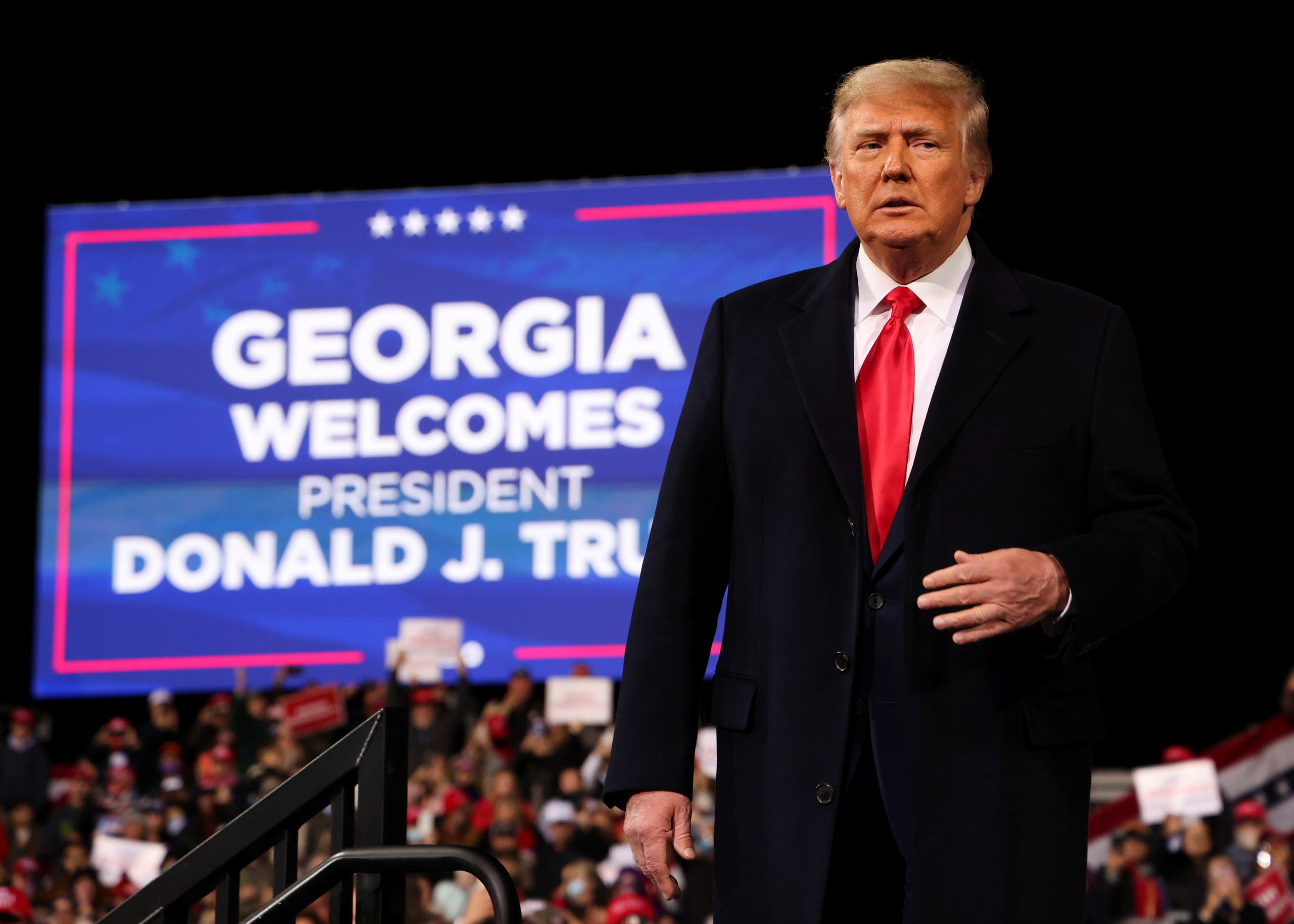 President Donald Trump attends a campaign rally for Republican US Senators David Perdue and Kelly Loeffler, ahead of their January runoff elections to determine control of the US Senate, in Valdosta, Georgia on December 5, 2020.(Reuters)