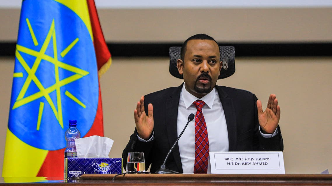 Ethiopian Prime Minister Abiy Ahmed gestures at the House of Peoples Representatives in Addis Ababa, Ethiopia, on November 30, 2020 to respond to the Parliament on the current conflict between Ethiopian National Defence Forces and the leaders of the Tigray People's Liberation Front (TPLF). Ethiopian Prime Minister Abiy Ahmed said on November 30, 2020 Tigray region's dissident leaders had fled west of the regional capital after weeks of fighting, but said federal forces were monitoring them closely and would attack them soon.