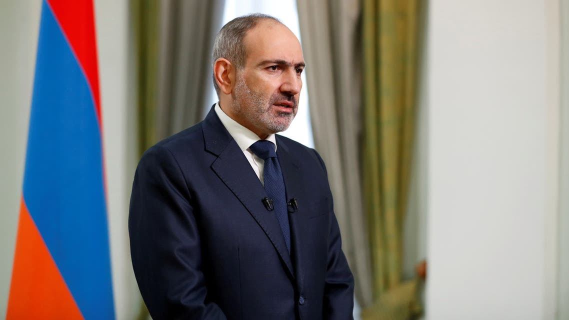 FILE PHOTO: Armenian Prime Minister Nikol Pashinyan speaks during his address to the nation in Yerevan, Armenia November 12, 2020. Armenian Prime Minister Press Service/Tigran Mehrabyan/PAN Photo via REUTERS ATTENTION EDITORS - THIS IMAGE HAS BEEN SUPPLIED BY A THIRD PARTY. MANDATORY CREDIT./File Photo