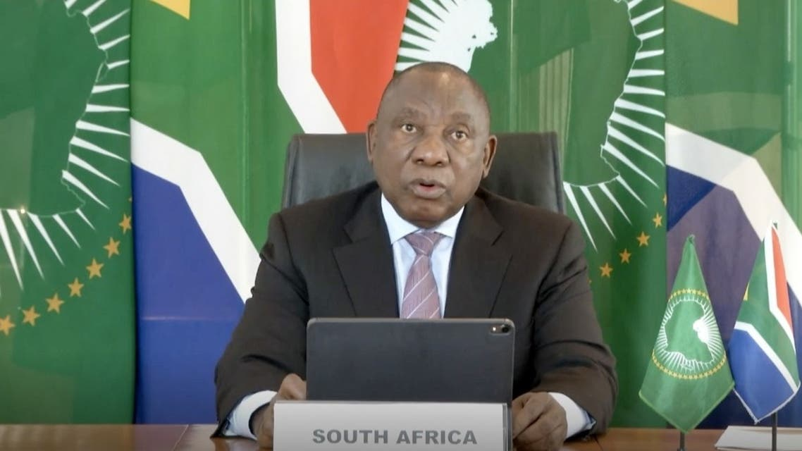 This video grab taken on May 18, 2020 from the website of the World Health Organization shows South African President Cyril Ramaphosa delivering a speech via video link amid the COVID-19 pandemic, caused by the novel coronavirus. (World Health Organization/AFP)