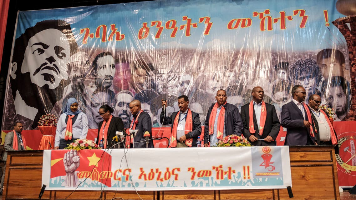(FLTR) Keria Ibrahim, Fetlework Gebregzabher, Debretsion Gebremichael, Alem Gebrewahid, Getachew Reda, Addis-Alem Balema, Asmelash Woldeselassie, leaders of the Tigray People's Liberation Front (TPLF), stand in front of the public during the TPLF First Emergency General Congress in the city of Mekelle, Ethiopia, on January 04, 2020.