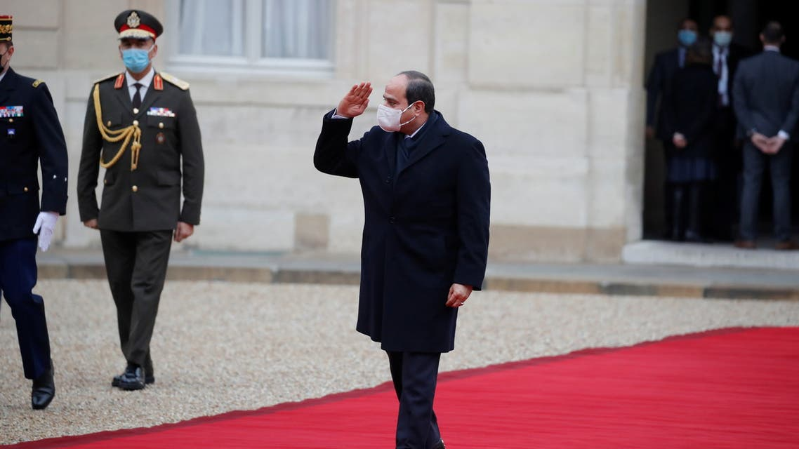 Egyptian President Abdel Fattah al-Sisi is received by a military ceremony in Paris, France, December 7, 2020.