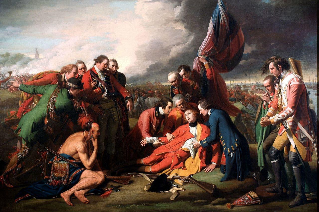 لوحة تجسد وفاة الجنرال البريطاني وولف خلال معركة سهول ابراهام