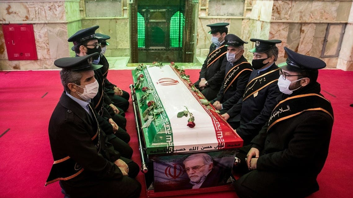 Body of slain top Iranian nuclear scientist during burial ceremony. (Reuters)