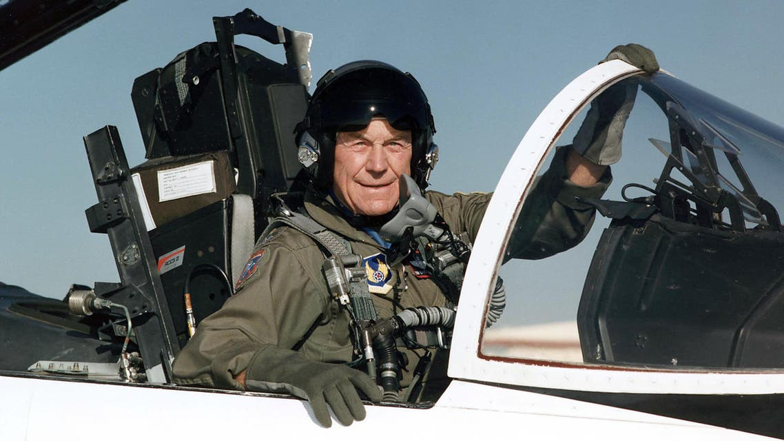 1995 at Edwards Air Force Base in California shows Brig. Gen. Charles E. 'Chuck' Yeager in the cockpit of an F-15. (AFP)