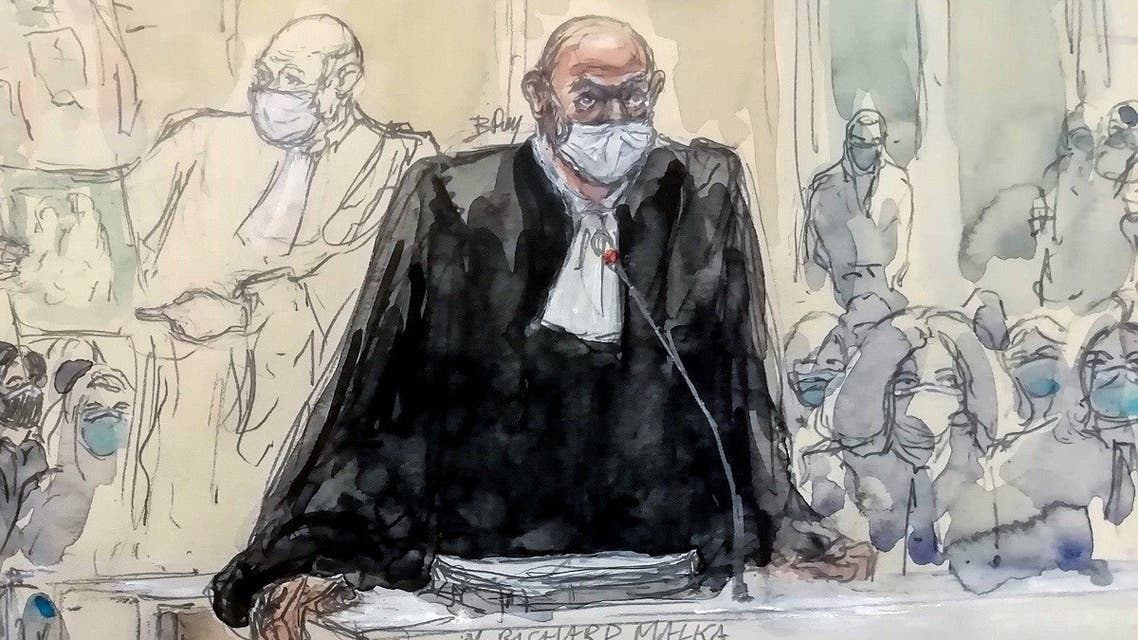 """A courtroom sketch created on December 4, 2020, shows Charlie Hebdo's lawyer Richard Malka at the """"Tribunal de Paris"""" courthouse in Paris during the trial of 14 people suspected of being accomplices in the Charlie Hebdo and Hyper Cacher extremist killings. (Benoit Peyrucq/AFP)"""