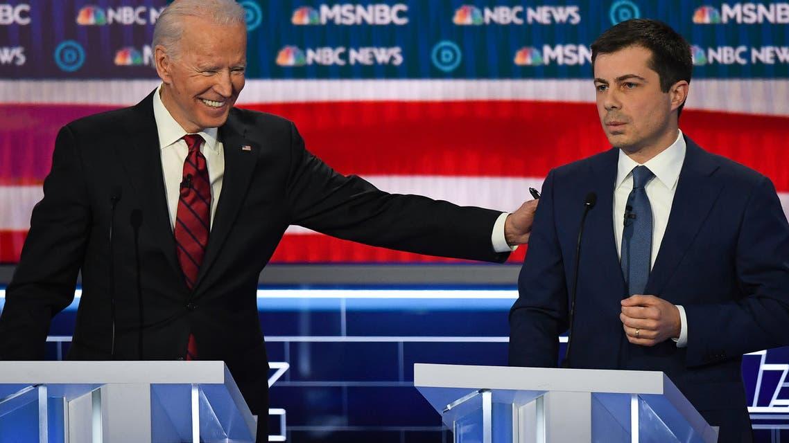Joe Biden and South Bend Mayor Pete Buttigieg, then both Democratic presidential nominee candidates, in Las Vegas, Nevada, on February 19, 2020. (AFP)