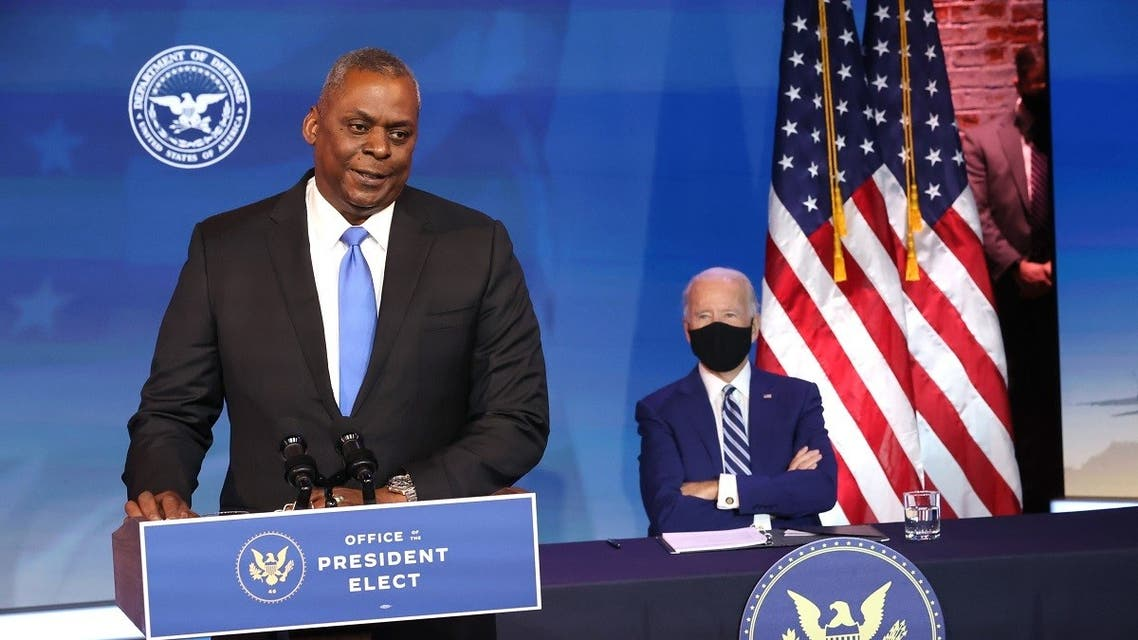 U.S. Army (retired) General Lloyd Austin (L) speaks after being formally nominated to be Secretary of the Department of Defense. (AFP)