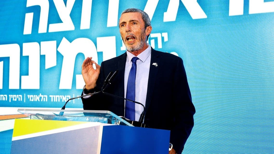 Israeli Education Minister Rafi Peretz attends the launch of the political party Yemina. (AFP)