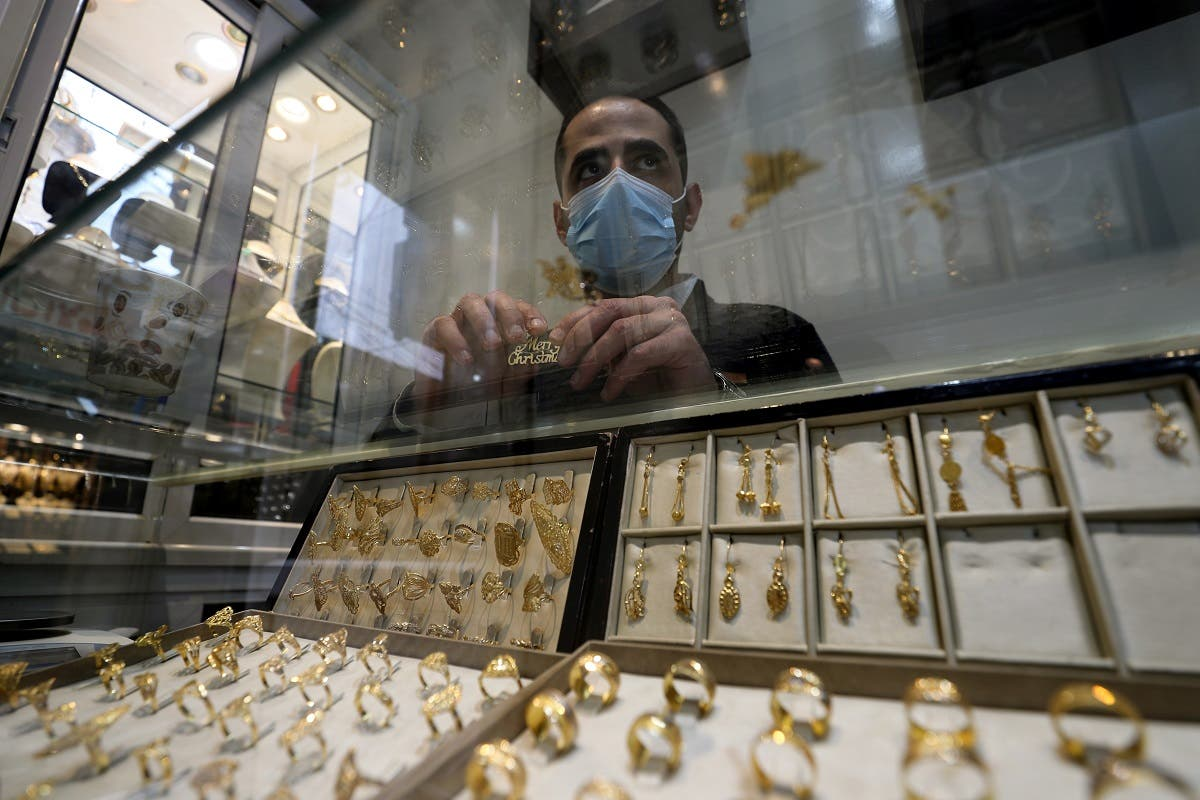 Palestinian Christian jewelr Melad Al-Amash at his store in Gaza City. (Reuters)