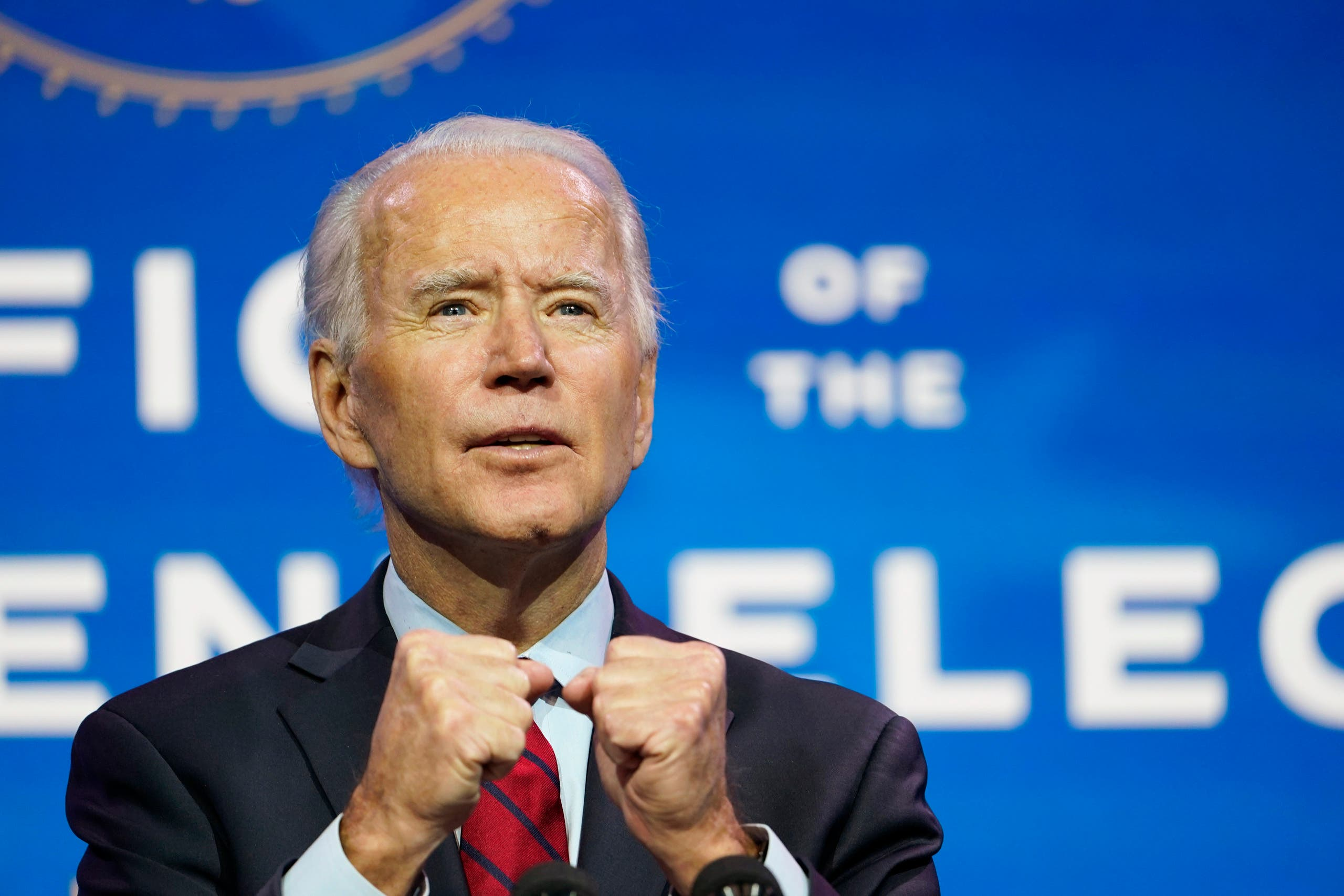 President-elect Joe Biden speaks during an event at The Queen theater in Wilmington on Dec. 8, 2020. (AP)
