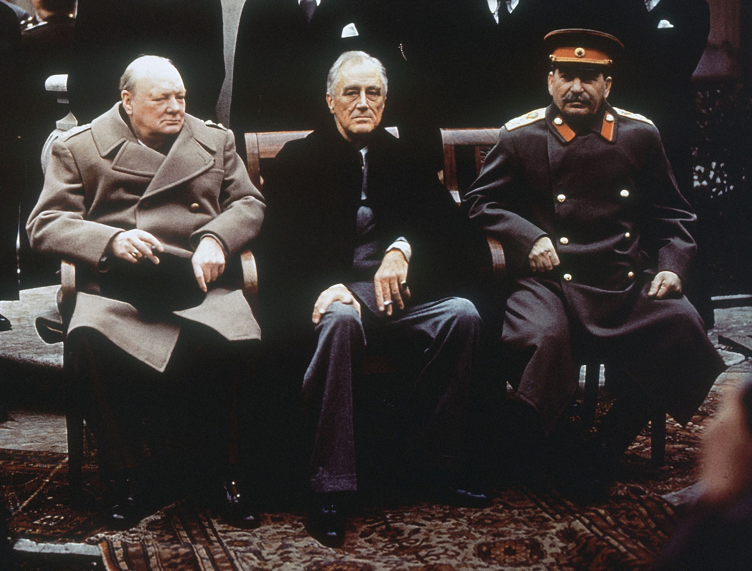 In this Feb. 4, 1945, file photo, from left, British Prime Minister Winston Churchill, US President Franklin Roosevelt and Soviet Premier Josef Stalin as they sit on the patio of Livadia Palace, Yalta, Crimea. (AP)