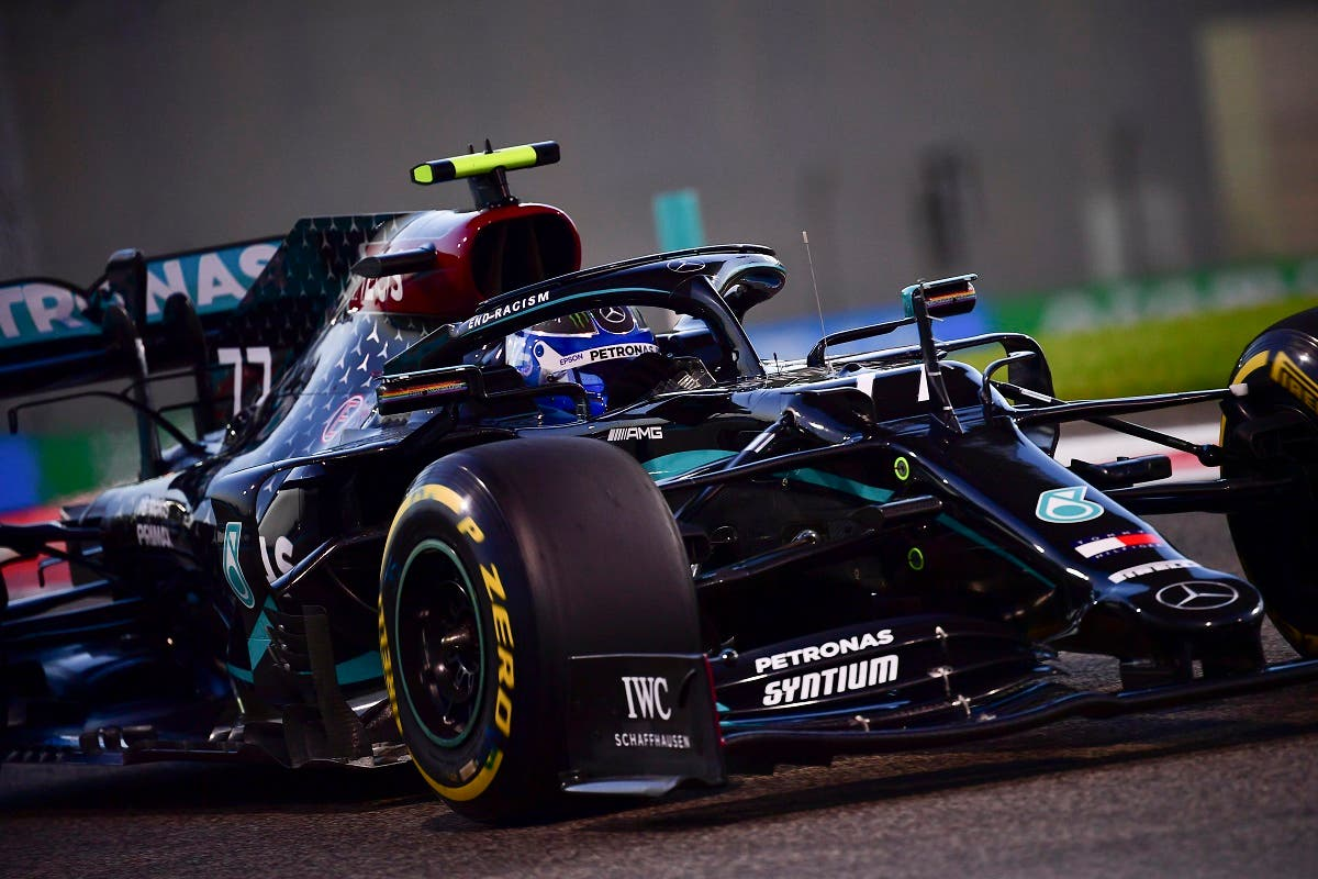 Mercedes driver Valtteri Bottas of Finland in action during second practice at the Formula One Abu Dhabi Grand Prix in Abu Dhabi, UAE, on December 10, 2020. (AP)