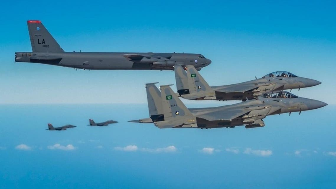 Two Saudi Royal Air Force fighter jets escort the US B-52H Stratofortress bombers across Saudi Arabia's airspace. (Twitter)