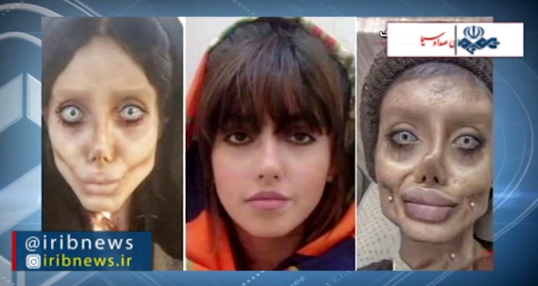 An image grab from footage obtained from Iranian State TV IRIB on October 24, 2019 shows a reproduction of pictures posted by Iranian Intagrammer Sahar Tabar of herself before (C) and after. (AFP/HO/IRIB)