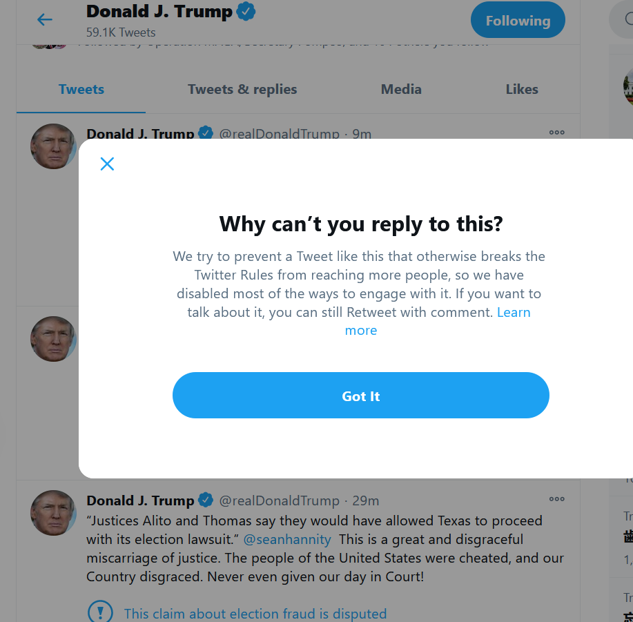 A screengrab shows a message that appeared when users tried to engage with President Trump's tweets. (Screengrab)