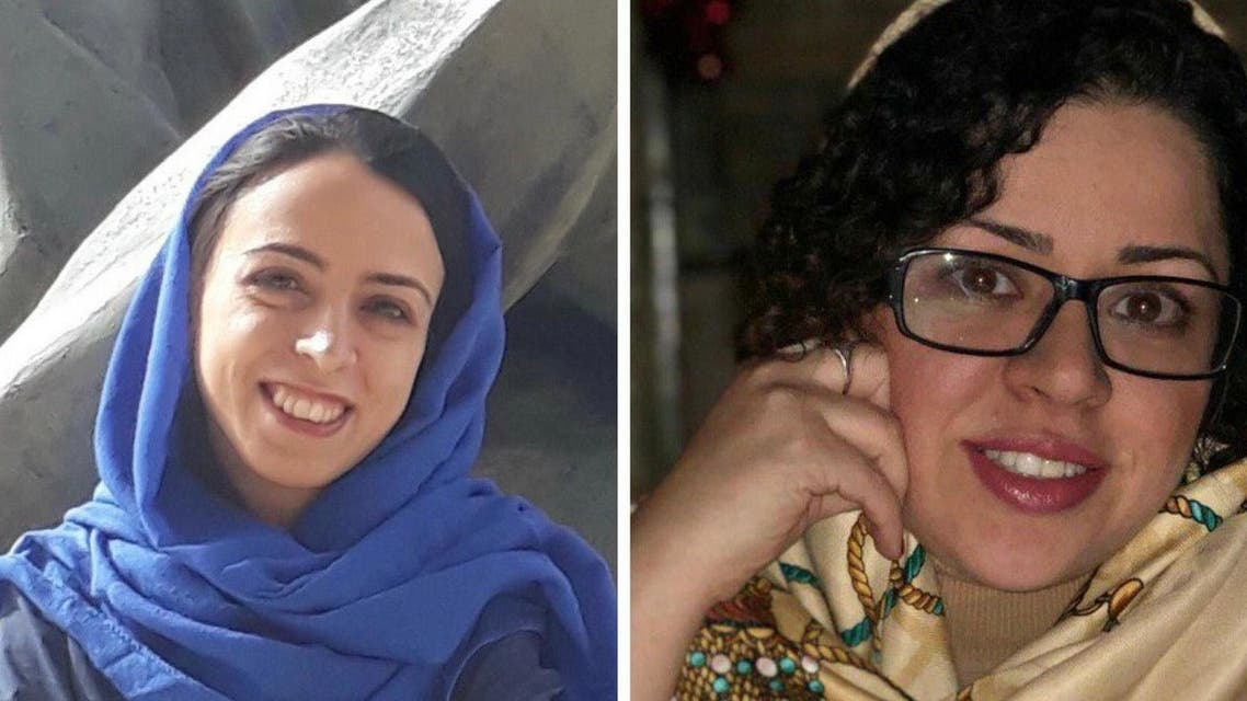 Najmeh Vahedi, left, and Hoda Amid, right, were sentenced to prison in Iran. (Twitter)