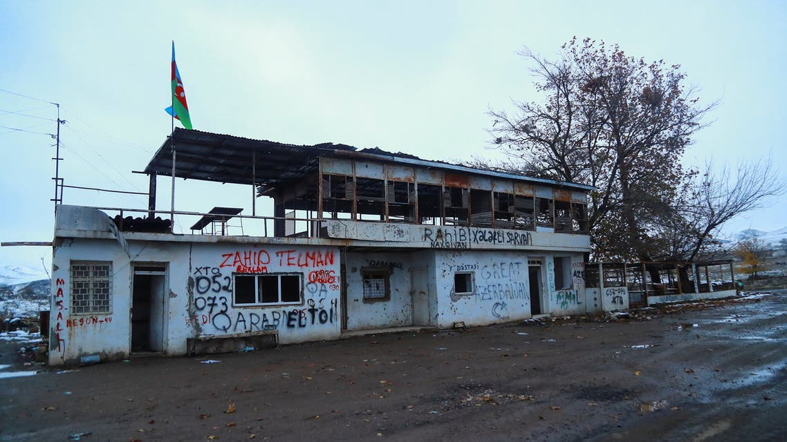 A view shows an abandoned bus terminal in the area, which came under the control of Azerbaijan's troops following a military conflict over Nagorno-Karabakh against ethnic Armenian forces and a further signing of a ceasefire deal, in the city of Jabrayil, December 7, 2020. (Reuters)