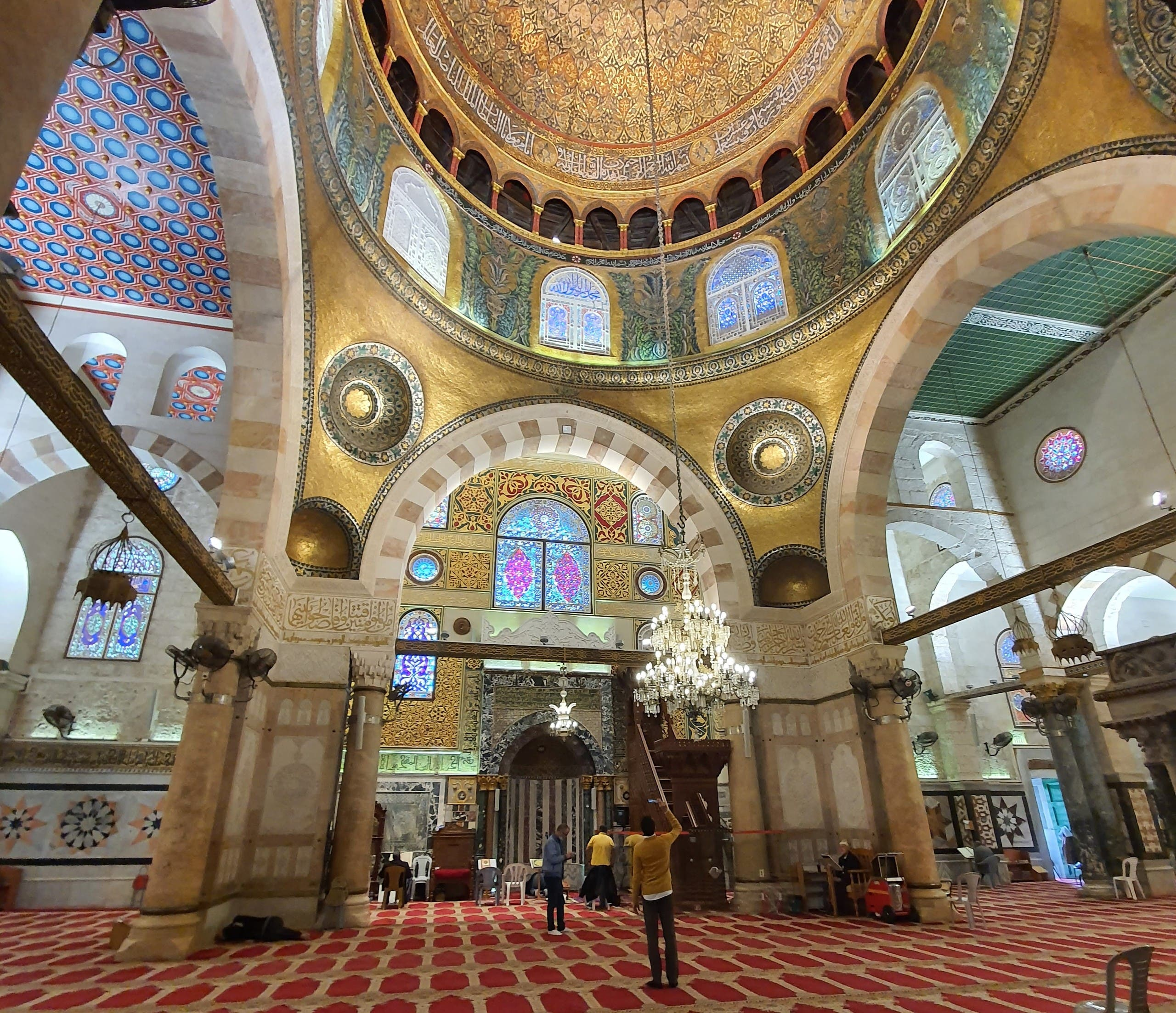 Emiratis take photos of a mosque in the Al Aqsa compound in East Jerusalem. (Supplied)