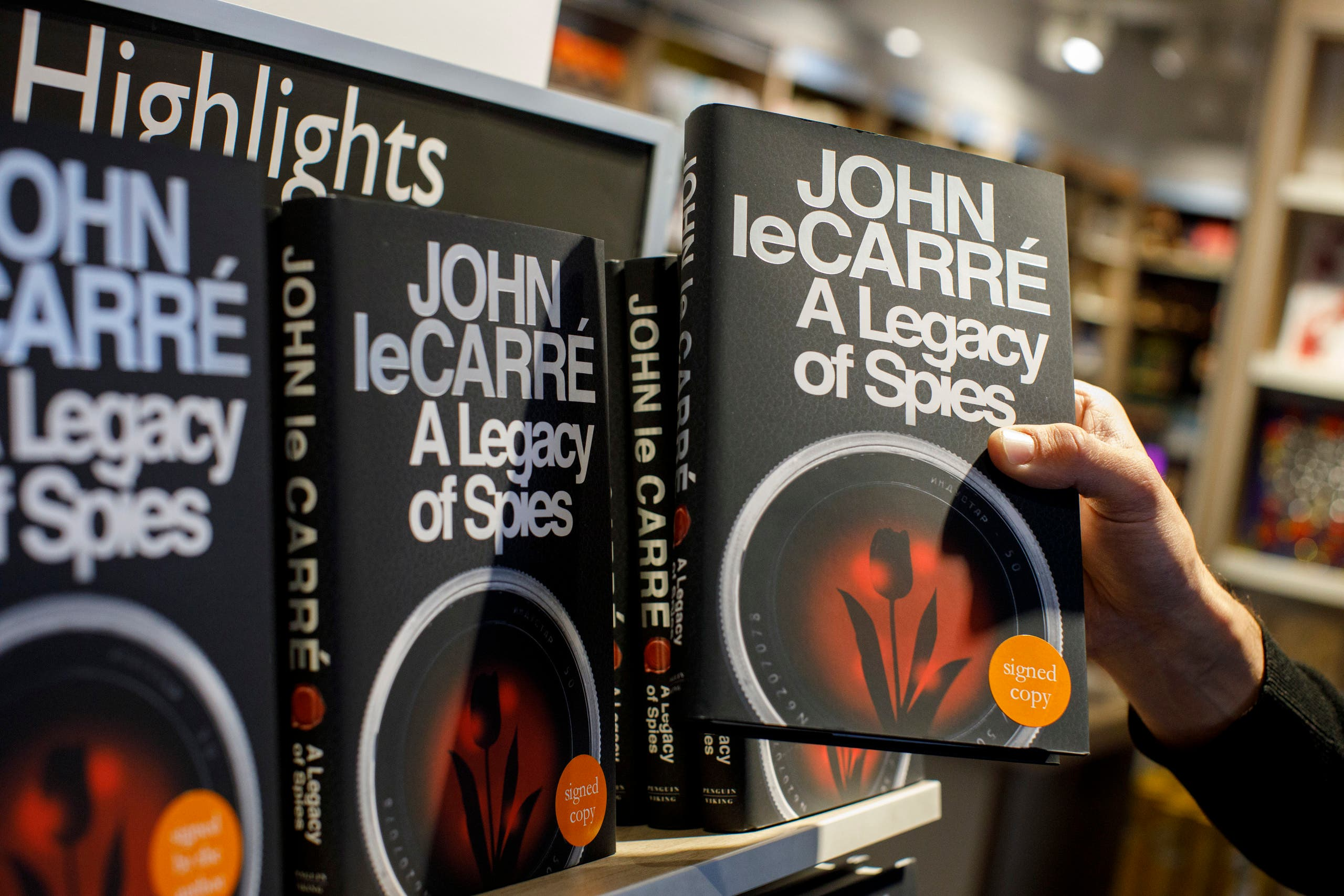 Copies of 'A legacy of Spies' a new novel by English author John Le Carre are on sale at a bookshop in central London on September 7, 2017. (AFP)