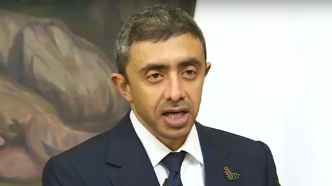 UAE Foreign Minister Abdullah bin Zayed speaking at a joint press conference in Russia, December 14, 2020. (Screengrab)