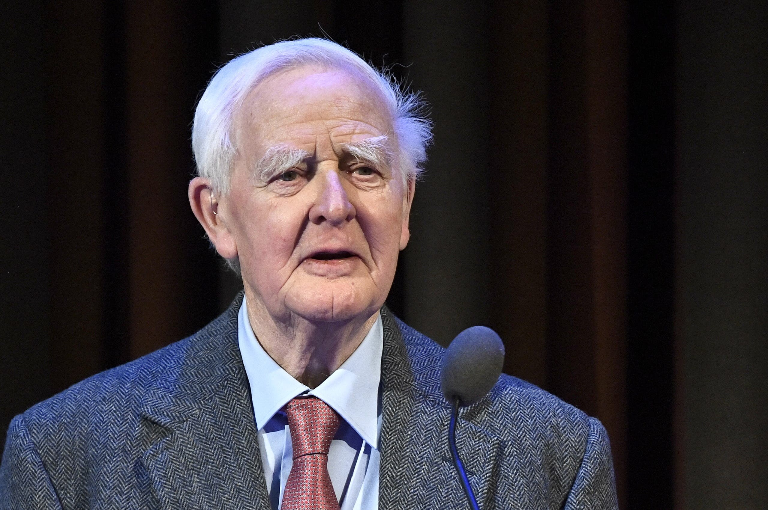 British author John le Carre (David John Moore Cornwell) speaks at the ceremony where he is awarded the Olof Palme Award 2019, January 30, 2020. (AFP)