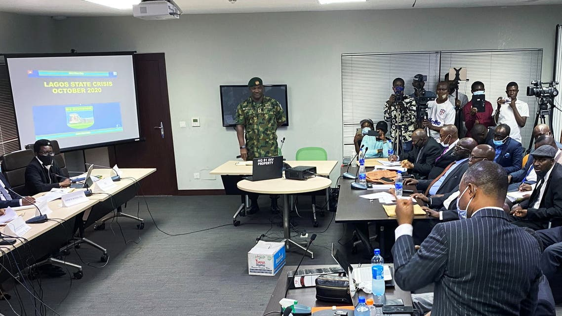 Brigadier General Ahmed Taiwo, who heads the army's 81st Division in Lagos, speaks during a judicial panel investigating claims that Nigerian soldiers shot dead peaceful protesters in Lagos, Nigeria November 21, 2020. (Reuters)