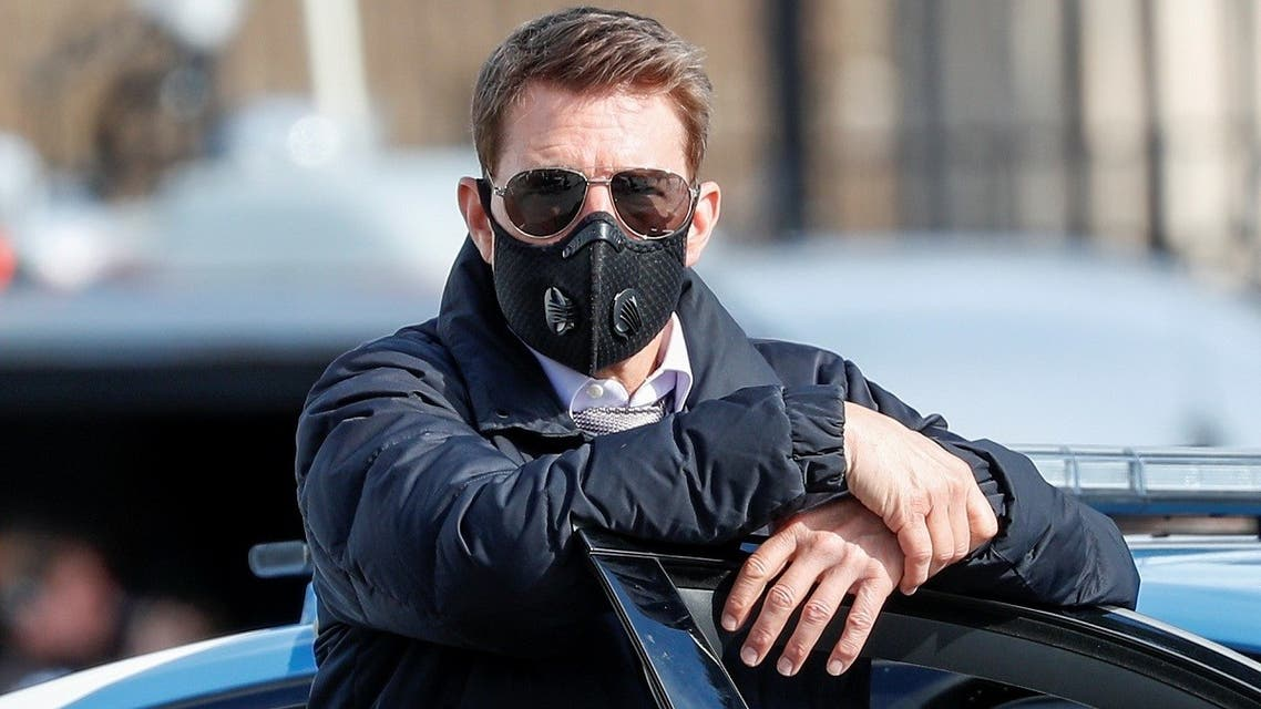 """Actor Tom Cruise is seen on the set of """"Mission: Impossible 7"""" while filming in Rome, Italy. (Reuters)"""