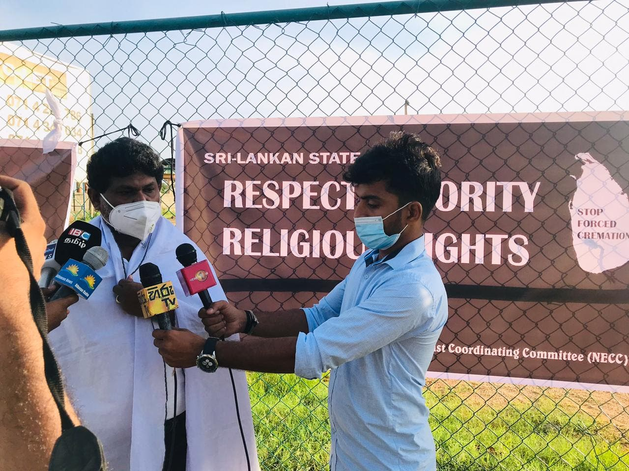Protesters in support of minority rights in Sri Lanka are interviewed. (Supplied)