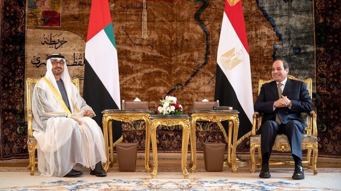 Abu Dhabi Crown Prince Sheikh Mohamed bin Zayed Al Nahyan and Egyptian President Abdel Fattah al-Sisi in Cairo. (Twitter)