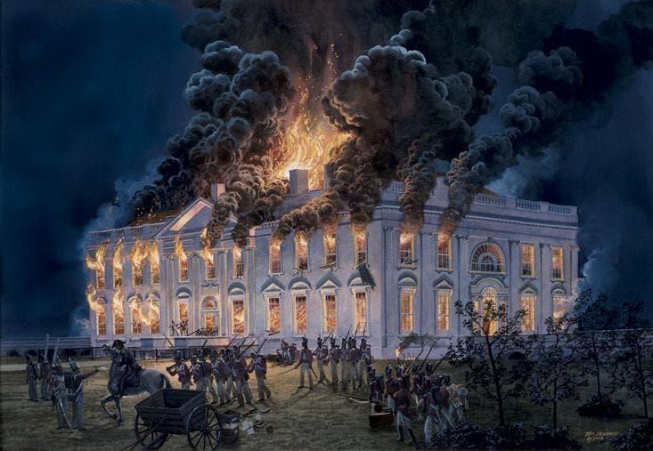 لوحة تجسد حريق البيت الأبيض عام 1814