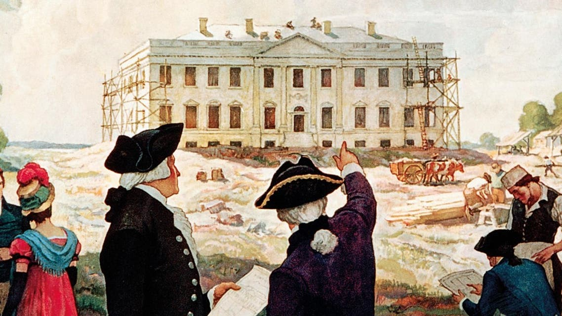 لوحة تجسد عملية تشييد البيت الأبيض عام 1792