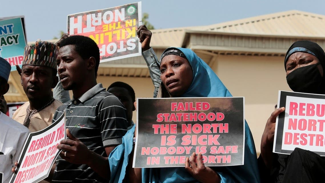 Demonstrators gather to urge authorities to rescue hundreds of abducted schoolboys, in northwestern state of Katsina, Nigeria, on December 17, 2020. (Reuters)
