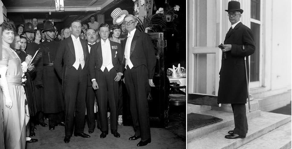 صورتان لجورج هارفي، أول متبرع عينوه سفيرا، إلى اليمين في 1914 وإلى اليسار في 1923 بلندن