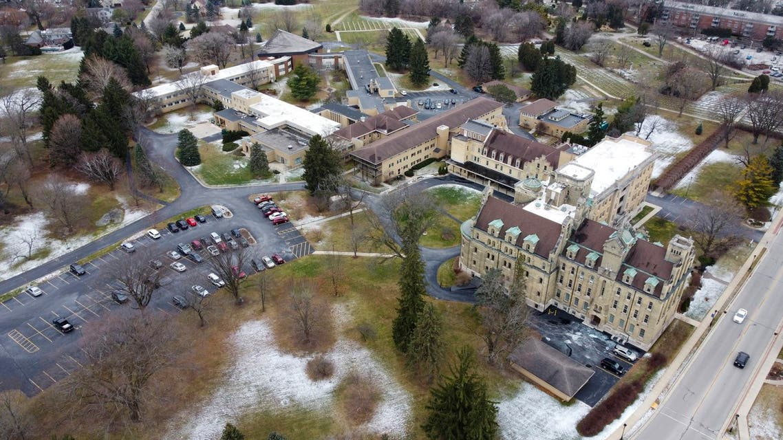 This aerial image taken with a drone shows the School Sisters of Notre Dame Central Pacific Province, Thursday, Dec. 17, 2020, in Elm Grove, Wis. Eight nuns living in the suburban Milwaukee covent have died in the last week from COVID-19, according to the congregation. (AP)