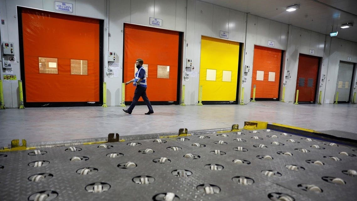 A view of modular cold storage rooms which can be temperature controlled to store the coronavirus disease (COVID-19) vaccines at dnata's cool chain facility in Singapore, on December 17, 2020. (Reuters)