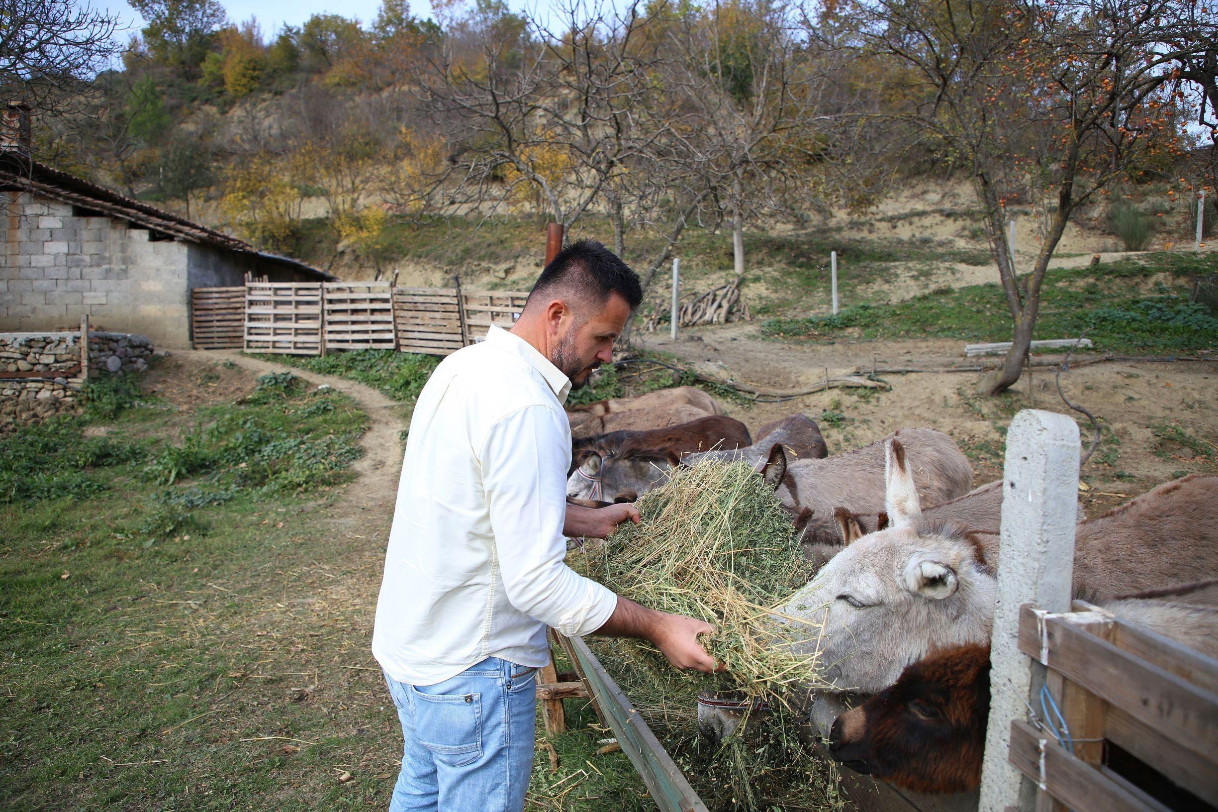 إلتون يهتم بالحمير في مزرعته