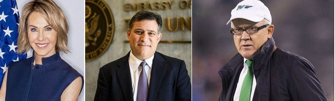 من اليمين، مطلق التصريحات العنصرية في لندن، والمتبرع الذي عينوه سفيرا لدى آيسلندا، وأراد إدارة السفارة عن بعد من كاليفورنيا، والمتبرعة السفيرة حاليا لدى الأمم المتحدة وأمضت 300 يوم بالتجول في كندا