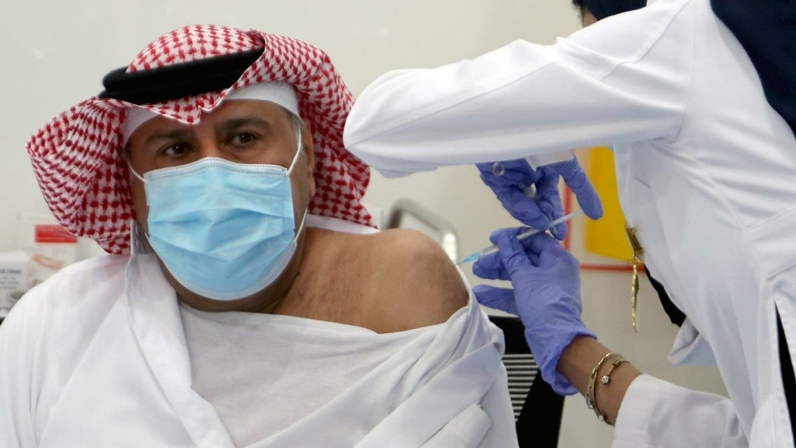A Saudi man gets a dose of a coronavirus disease (COVID-19) vaccine, in Riyadh, Saudi Arabia December 17, 2020. (Reuters)