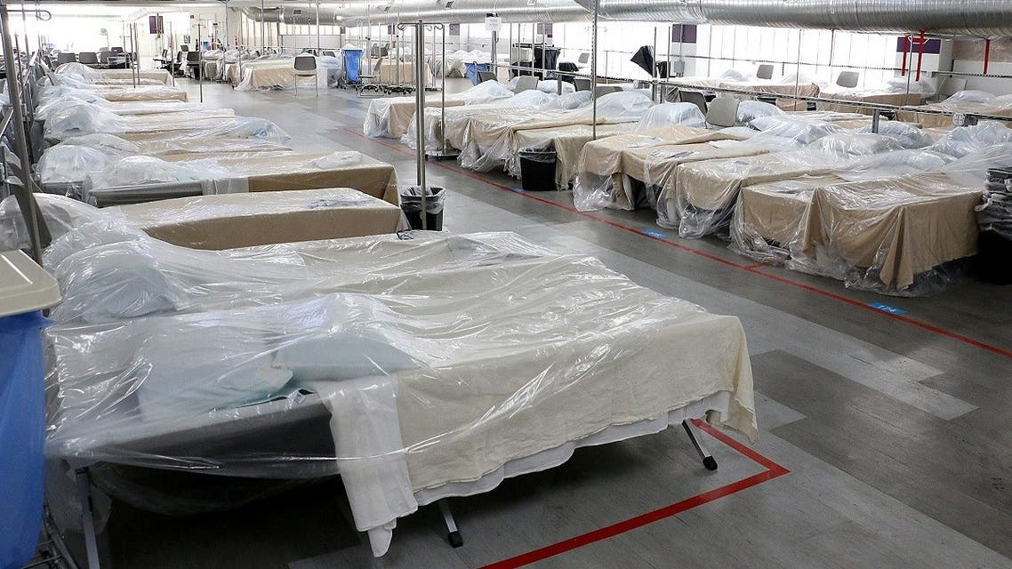 Back-up hospital beds are seen in the parking garage at the Renown Regional Medical Center. (Reuters)