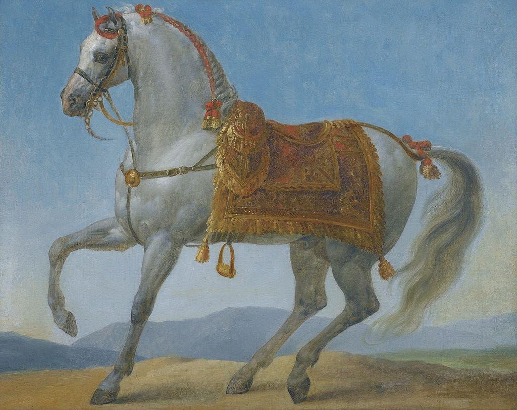 لوحة زيتية بريشة الرسام الفرنسي أنطوان جان غرو رسمت عام 1803 وتجسد الحصان مارينغو