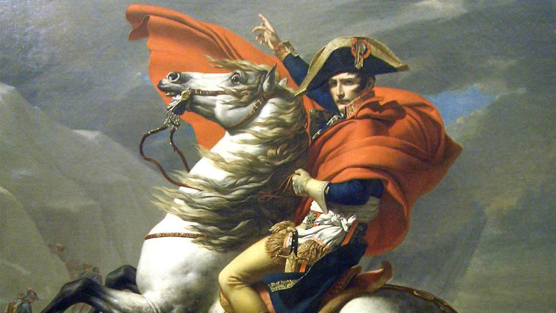 لوحة يعتقد أنها بنابليون بونابرت رفقة حصانه مارينغو